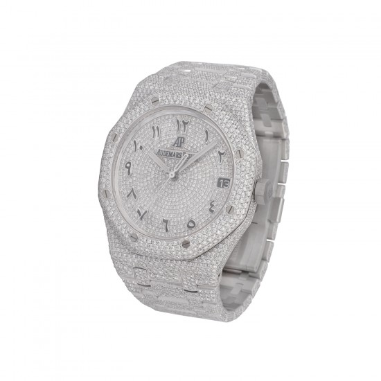 Audemars Piguet Steel Full Diamond with Arabic Numbers