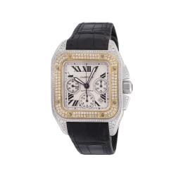 Cartier Santos 100 XL Jumbo Chronograph White/Yellow Gold